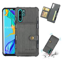 Brush Multi-function Leather Phone Case for Huawei P30 Pro - Gray