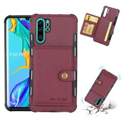 Brush Multi-function Leather Phone Case for Huawei P30 Pro - Wine Red