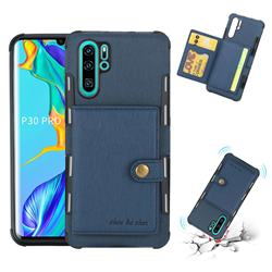 Brush Multi-function Leather Phone Case for Huawei P30 Pro - Blue