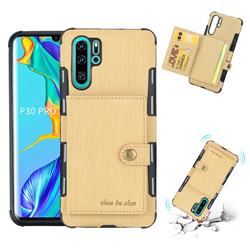 Brush Multi-function Leather Phone Case for Huawei P30 Pro - Golden