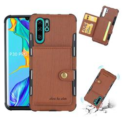 Brush Multi-function Leather Phone Case for Huawei P30 Pro - Brown