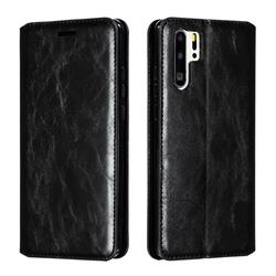 Retro Slim Magnetic Crazy Horse PU Leather Wallet Case for Huawei P30 Pro - Black