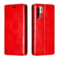 Retro Slim Magnetic Crazy Horse PU Leather Wallet Case for Huawei P30 Pro - Red