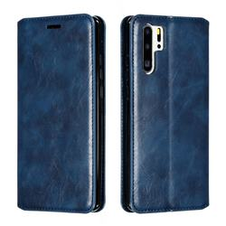 Retro Slim Magnetic Crazy Horse PU Leather Wallet Case for Huawei P30 Pro - Blue