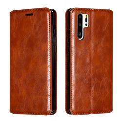 Retro Slim Magnetic Crazy Horse PU Leather Wallet Case for Huawei P30 Pro - Brown