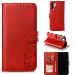 Embossing Happy Cat Leather Wallet Case for Huawei P30 Pro - Red
