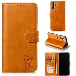 Embossing Happy Cat Leather Wallet Case for Huawei P30 Pro - Yellow