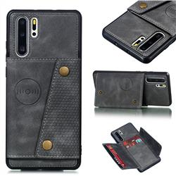 Retro Multifunction Card Slots Stand Leather Coated Phone Back Cover for Huawei P30 Pro - Gray