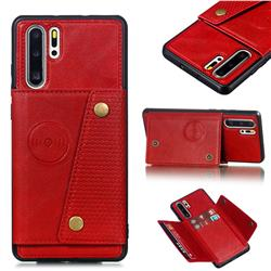 Retro Multifunction Card Slots Stand Leather Coated Phone Back Cover for Huawei P30 Pro - Red