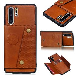 Retro Multifunction Card Slots Stand Leather Coated Phone Back Cover for Huawei P30 Pro - Brown