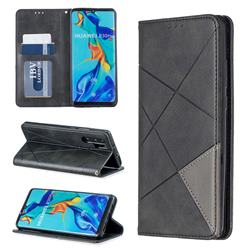 Prismatic Slim Magnetic Sucking Stitching Wallet Flip Cover for Huawei P30 Pro - Black