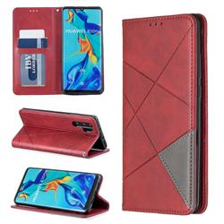 Prismatic Slim Magnetic Sucking Stitching Wallet Flip Cover for Huawei P30 Pro - Red