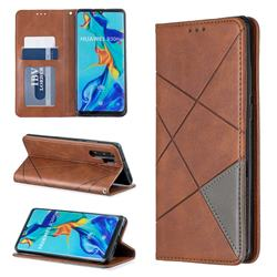 Prismatic Slim Magnetic Sucking Stitching Wallet Flip Cover for Huawei P30 Pro - Brown