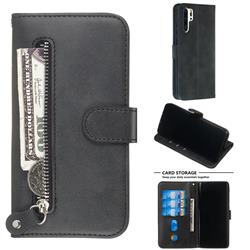Retro Luxury Zipper Leather Phone Wallet Case for Huawei P30 Pro - Black