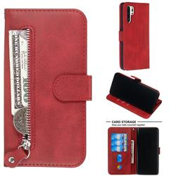 Retro Luxury Zipper Leather Phone Wallet Case for Huawei P30 Pro - Red