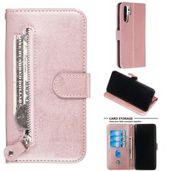 Retro Luxury Zipper Leather Phone Wallet Case for Huawei P30 Pro - Pink