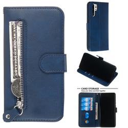 Retro Luxury Zipper Leather Phone Wallet Case for Huawei P30 Pro - Blue