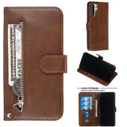 Retro Luxury Zipper Leather Phone Wallet Case for Huawei P30 Pro - Brown