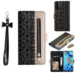 Luxury Lace Zipper Stitching Leather Phone Wallet Case for Huawei P30 Pro - Black