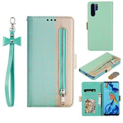 Luxury Lace Zipper Stitching Leather Phone Wallet Case for Huawei P30 Pro - Green
