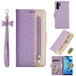 Luxury Lace Zipper Stitching Leather Phone Wallet Case for Huawei P30 Pro - Purple