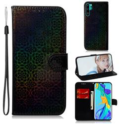 Laser Circle Shining Leather Wallet Phone Case for Huawei P30 Pro - Black