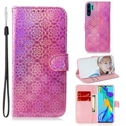 Laser Circle Shining Leather Wallet Phone Case for Huawei P30 Pro - Pink