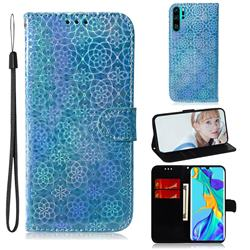 Laser Circle Shining Leather Wallet Phone Case for Huawei P30 Pro - Blue