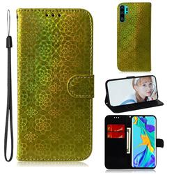 Laser Circle Shining Leather Wallet Phone Case for Huawei P30 Pro - Golden