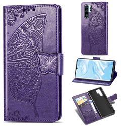 Embossing Mandala Flower Butterfly Leather Wallet Case for Huawei P30 Pro - Dark Purple