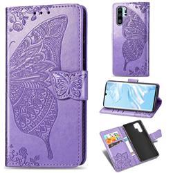 Embossing Mandala Flower Butterfly Leather Wallet Case for Huawei P30 Pro - Light Purple