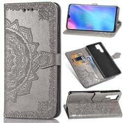 Embossing Imprint Mandala Flower Leather Wallet Case for Huawei P30 Pro - Gray