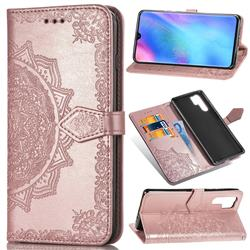 Embossing Imprint Mandala Flower Leather Wallet Case for Huawei P30 Pro - Rose Gold