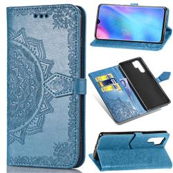 Embossing Imprint Mandala Flower Leather Wallet Case for Huawei P30 Pro - Blue