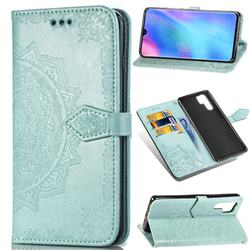 Embossing Imprint Mandala Flower Leather Wallet Case for Huawei P30 Pro - Green