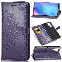 Embossing Imprint Mandala Flower Leather Wallet Case for Huawei P30 Pro - Purple