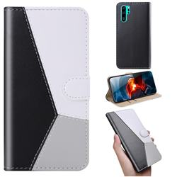 Tricolour Stitching Wallet Flip Cover for Huawei P30 Pro - Black