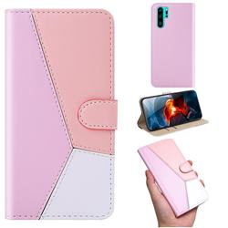 Tricolour Stitching Wallet Flip Cover for Huawei P30 Pro - Pink
