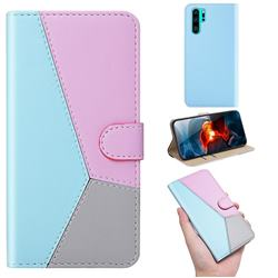 Tricolour Stitching Wallet Flip Cover for Huawei P30 Pro - Blue