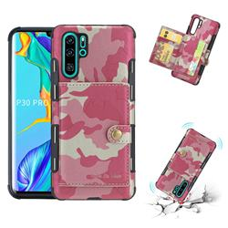 Camouflage Multi-function Leather Phone Case for Huawei P30 Pro - Rose
