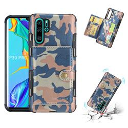 Camouflage Multi-function Leather Phone Case for Huawei P30 Pro - Blue