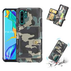 Camouflage Multi-function Leather Phone Case for Huawei P30 Pro - Army Green