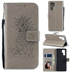 Embossing Flower Pineapple Leather Wallet Case for Huawei P30 Pro - Gray