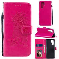 Embossing Flower Pineapple Leather Wallet Case for Huawei P30 Pro - Rose