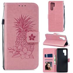 Embossing Flower Pineapple Leather Wallet Case for Huawei P30 Pro - Pink