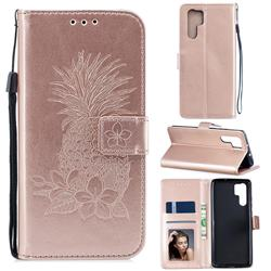 Embossing Flower Pineapple Leather Wallet Case for Huawei P30 Pro - Rose Gold