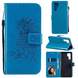 Embossing Flower Pineapple Leather Wallet Case for Huawei P30 Pro - Blue