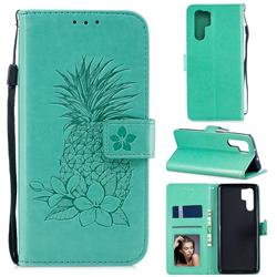 Embossing Flower Pineapple Leather Wallet Case for Huawei P30 Pro - Mint Green