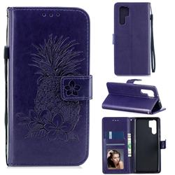 Embossing Flower Pineapple Leather Wallet Case for Huawei P30 Pro - Purple