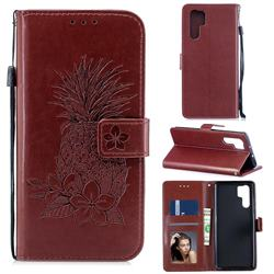 Embossing Flower Pineapple Leather Wallet Case for Huawei P30 Pro - Brown
